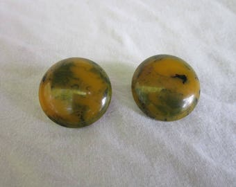 Antique Large Real Bakelite Green Mottled Clip on Earrings