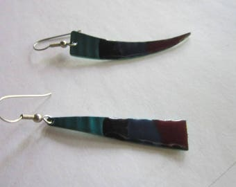Retro Modern Enameled Aluminum Dangle Pierced Earrings