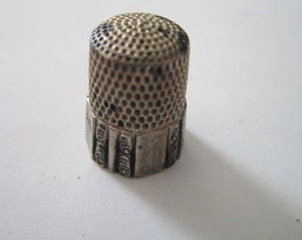 Antique Victorian Engraver Sterling Silver Sewing Thimble
