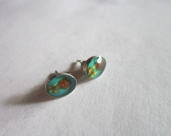 Vintage Sterling Silver & Flowers Under Glass Petite Stud Pierced Earrings
