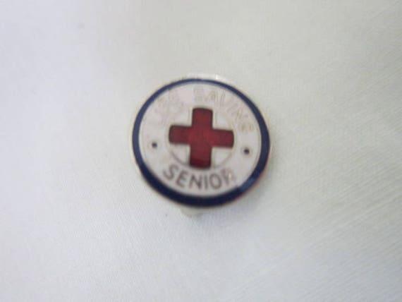 Antique Enameled Life Saving Senior Pinback