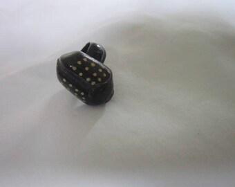 Vintage Bug Beetle Enameled Wood Ring
