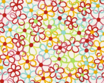 Fabric 100% cotton 45 cm x 45 cm flowers 2 coupon