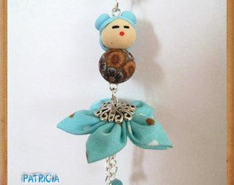 Turquoise Brown fabric Kanzashi flower Fimo Kokeshi doll bag charm or pendant