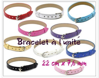 Bracelet leather Croco 22 cm x 7.6 mm Fuchsia color look individually