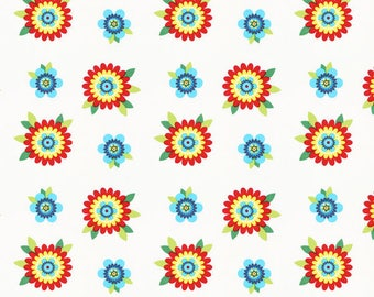 Fabric 100% cotton 45 cm x 45 cm flowers 1 coupon