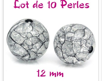 Set of 10 12 mm acrylic Crackle beads translucent and black
