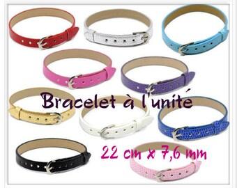 Bracelet leather Croco 22 cm x 7.6 mm dark blue color look individually