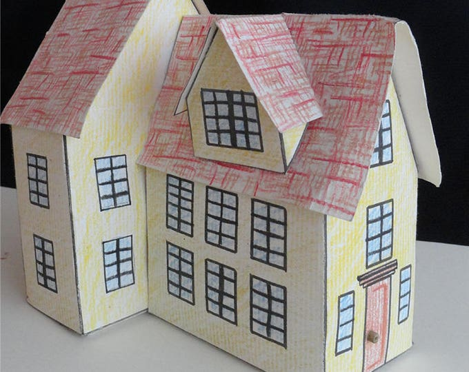 Featured listing image: Massachusetts House Paper House Pattern and Instructions Digital Download