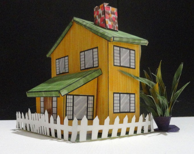 Featured listing image: Iowa House Paper House Pattern and Instructions Digital Download