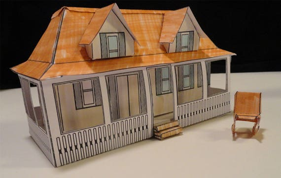 Florida Plantation House Paper House Pattern And Instructions   Etsy