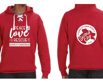 PEACE LOVE RESCUE | Sport Lace Premium Hoodie | Heavy Weight