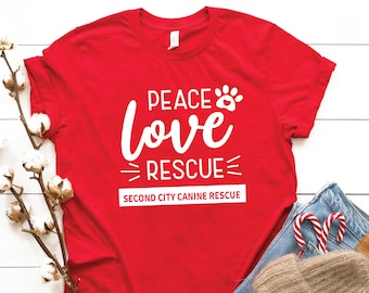 Peace Love Rescue | Crew Neck Jersey Tee
