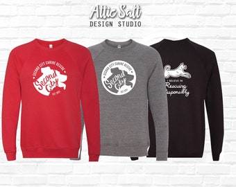 Raglan Sweatshirt --> 7 Logo Designs | 3 Sweatshirt Colors