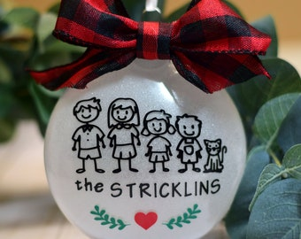 Stick Family Personalized Ornament | Christmas Tree Decoration | Adoption | Pregnancy Announcement