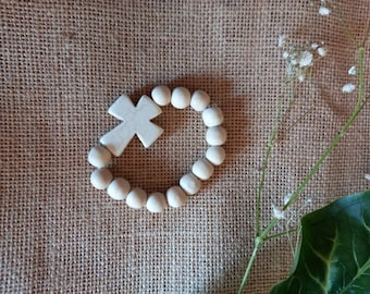 Howlite stone cross bracelet