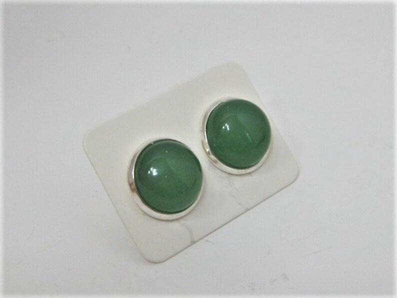 Aventurine stud earrings green stone stud earrings in a .925 silver setting