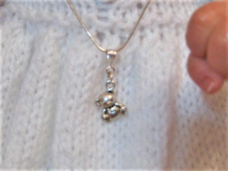 toddler necklace Infanttoddler silver teddy bear pendant necklace infant necklace teddy bear necklace