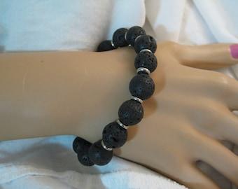 Lava bracelet for men, 10 mm lava stone and silver stretch bracelet for men