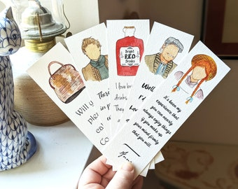 Anne of Green Gables Bookmark (SET of 5 paper bookmark)