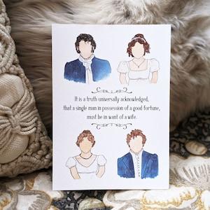 Regency book lover gift Pride /& Prejudice 8x10 Watercolor Fine Art Print: Literary Windows Series classic literature Jane Austen