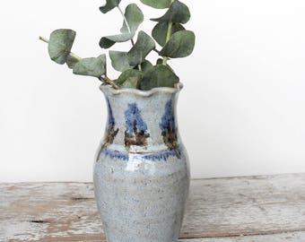 Hand Thrown Farmhouse Style Stoneware Pottery Vase by Janet  Pashin Lead Free