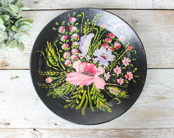 Hand Painted Clay Floral Bouquet Tray or Wall Art Piece!