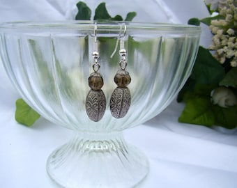 Pearl Grey way aged old style earrings