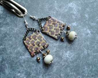 Wired beads and copper earrings