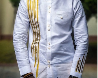 Mens Shirt Embroidery Designs | Perfect Engagement Attire White Ankara Men S Kaftans With Etsy