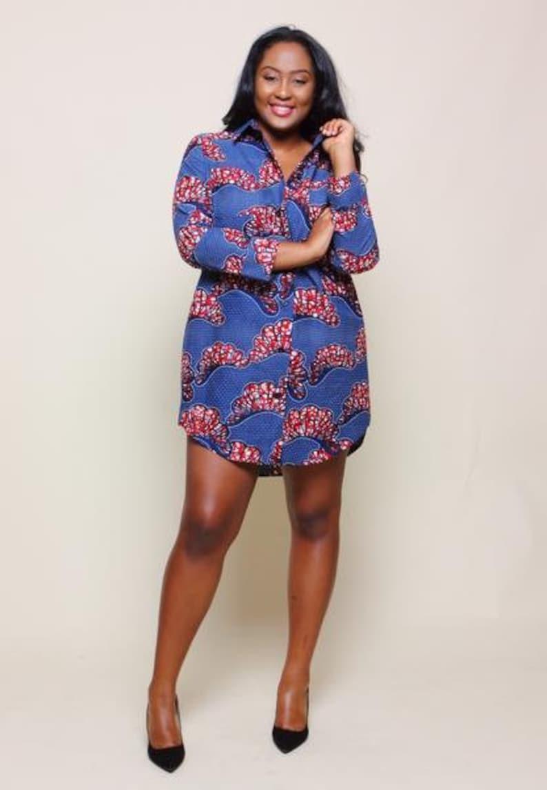 6ed9601529e Ankara shirt dress for ladies. African print shirt dress with