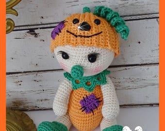 Pumpkin stuffed crocheted Amigurumi