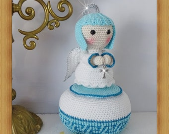 Box, Blue Angel plush, Amigurumi