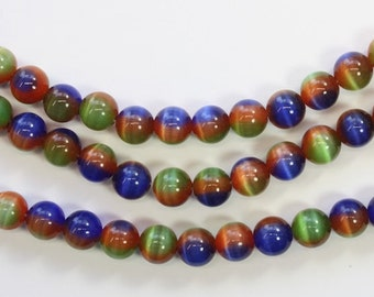 Cats Eye, Glass Beads, Round Beads, Dark Blue, Multi Colored, Rainbow,
