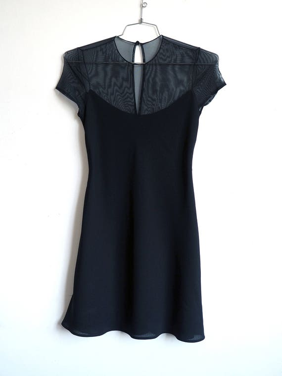 1990's Sheer top paneled Minimalist black layered