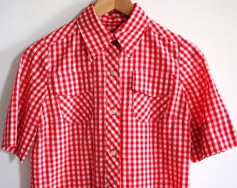 1960's Vintage Gingham TOM BOY Red and white CHECKERED button up Farmer Girl