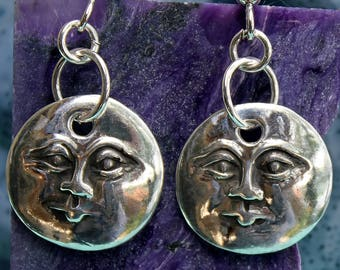 moon face earrings / silver full moon earrings / fine silver PMC / handmade