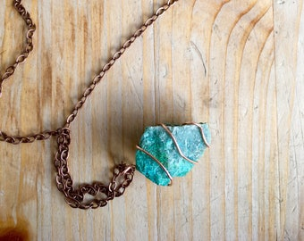 Pendent Necklace: Wire Wrapped Aqua Stone