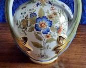 Beautiful three handled amphora style Italian or French faience vase