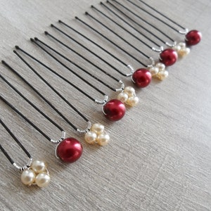 wedding 3 red beads and 3 white pearls or white beaded 8 mm hair Eco-bun pins hair Bridal