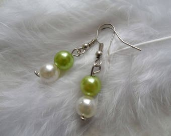 Earrings ivory and lime beaded jewelry bridal party bridesmaid