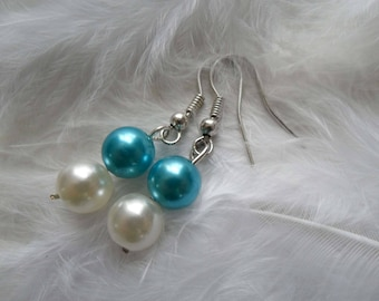 Earrings turquoise and Ivory Pearl Jewelry wedding party bridesmaid