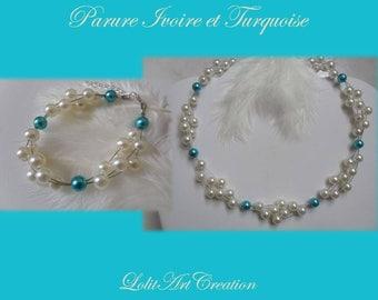 Set necklace bracelet turquoise Ivory Pearl wedding jewelry