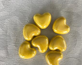 Yellow ceramic heart bead