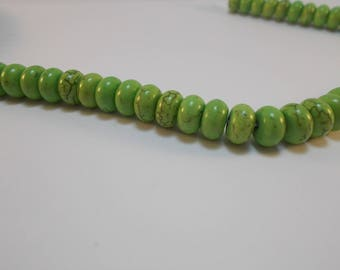 1 set of 20 light green ceramic turquoise beads