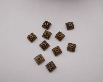 1 set of 10 caps or cups color bronze