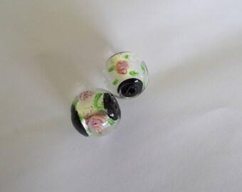 1 set of 2 Italian style 18 mm lampwork beads