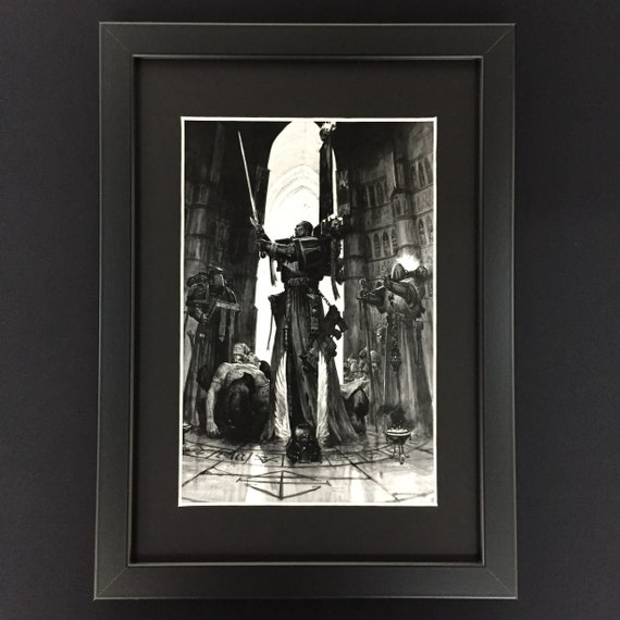 Games Workshop Warhammer 40,000 40K Black Library Framed Art Adeptus  Astartes Space Marines Dark Angels Azrael Grand Master