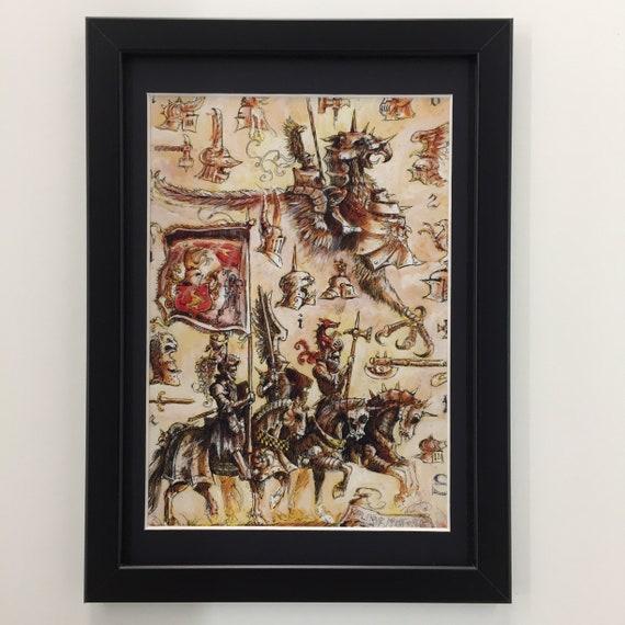 Spiele Workshop Warhammer Age Of Sigmar gerahmte Kunst reich Karl Franz Ritter Griffon Imperator ein
