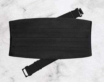 Handmade Classic Black Tuxedo Cummerbund   Adjustable   Prom Accessories   Tuxedo Belt Waistband  